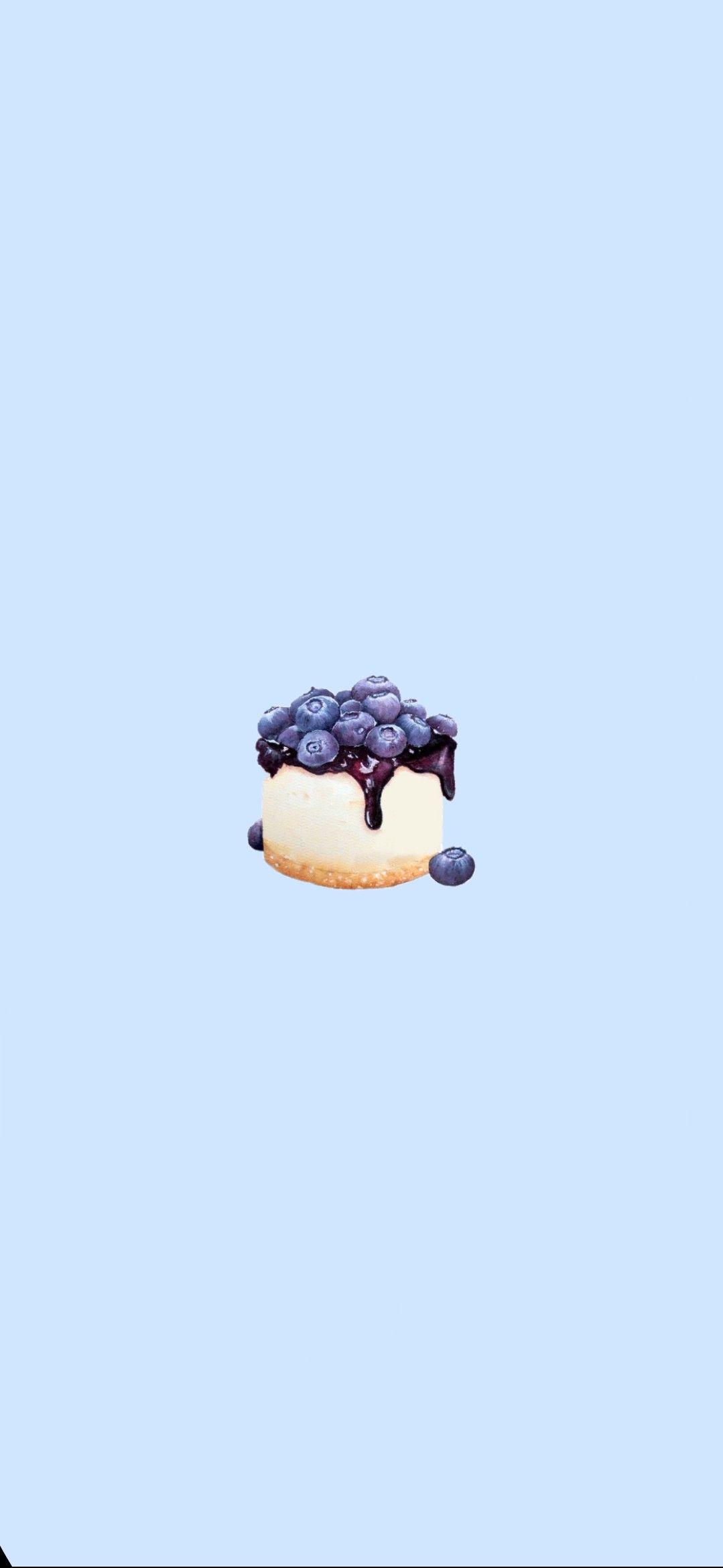 Cute Blue Blueberry Cake Iphone Wallpaper Cake Wallpaper Cute Wallpapers Kawaii Wallpaper