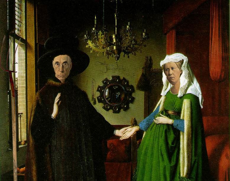"Parody of ""American Gothic"" and the ""Arnolfini Portrait"""