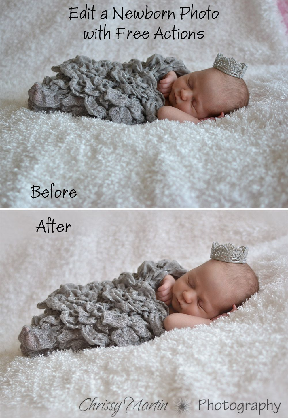 Edit a newborn photo with free actions in photoshop elements chrissy martin photography