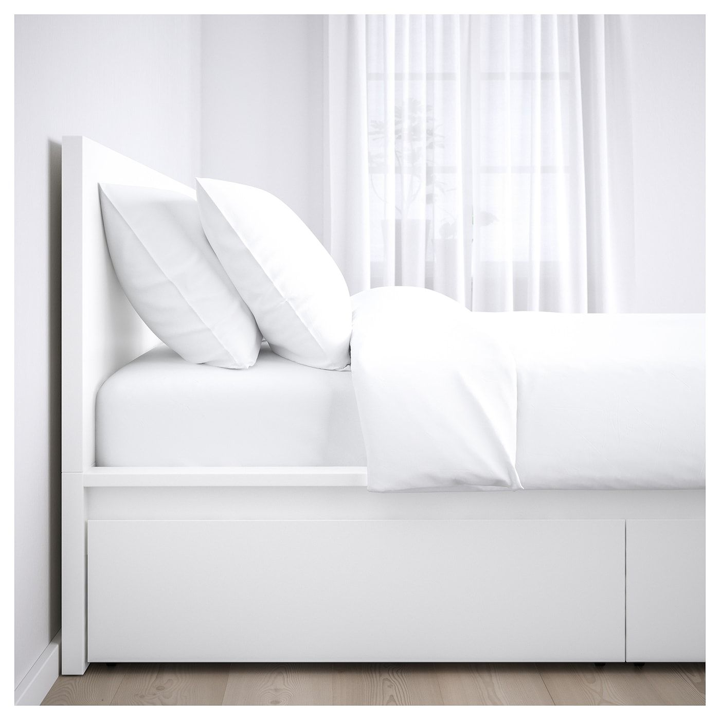 Malm High Bed Frame 2 Storage Boxes White Luroy Queen Ikea High Bed Frame White Bed Frame Bed Frame With Storage