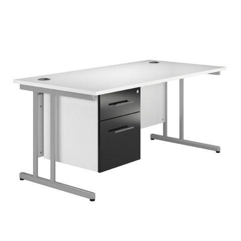 Arc Cantilever Single Pedestal Desk in Black