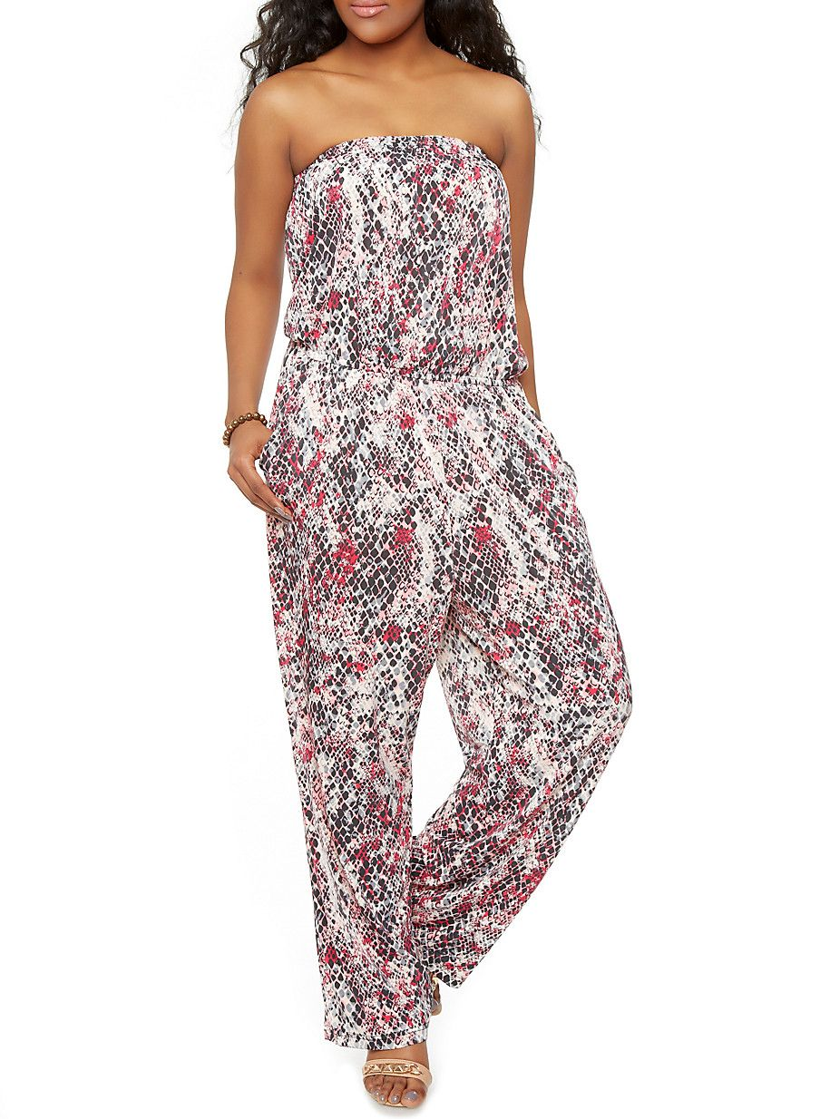 b0a39154f829 Rainbow Shops Plus-Size Strapless Printed Jumpsuit  14.99