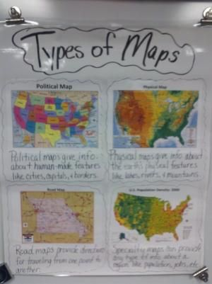texas political map for kids Types Of Maps Anchor Chart For Students To Refer To Helpful For