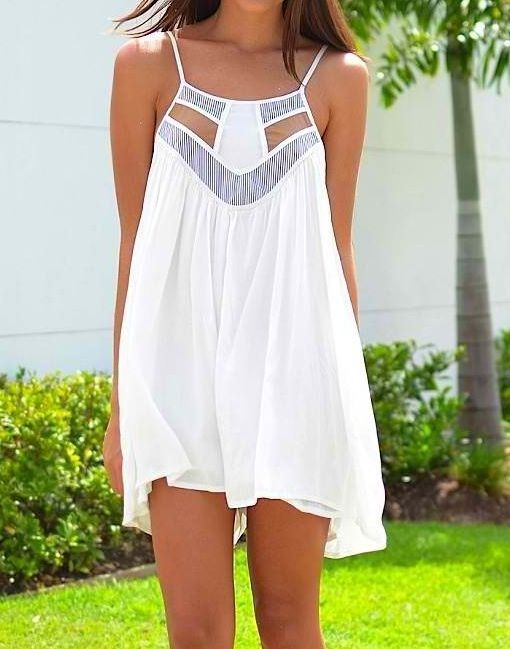 New Summer Dresses 2015 Fashion White Open Dress Very Cosy