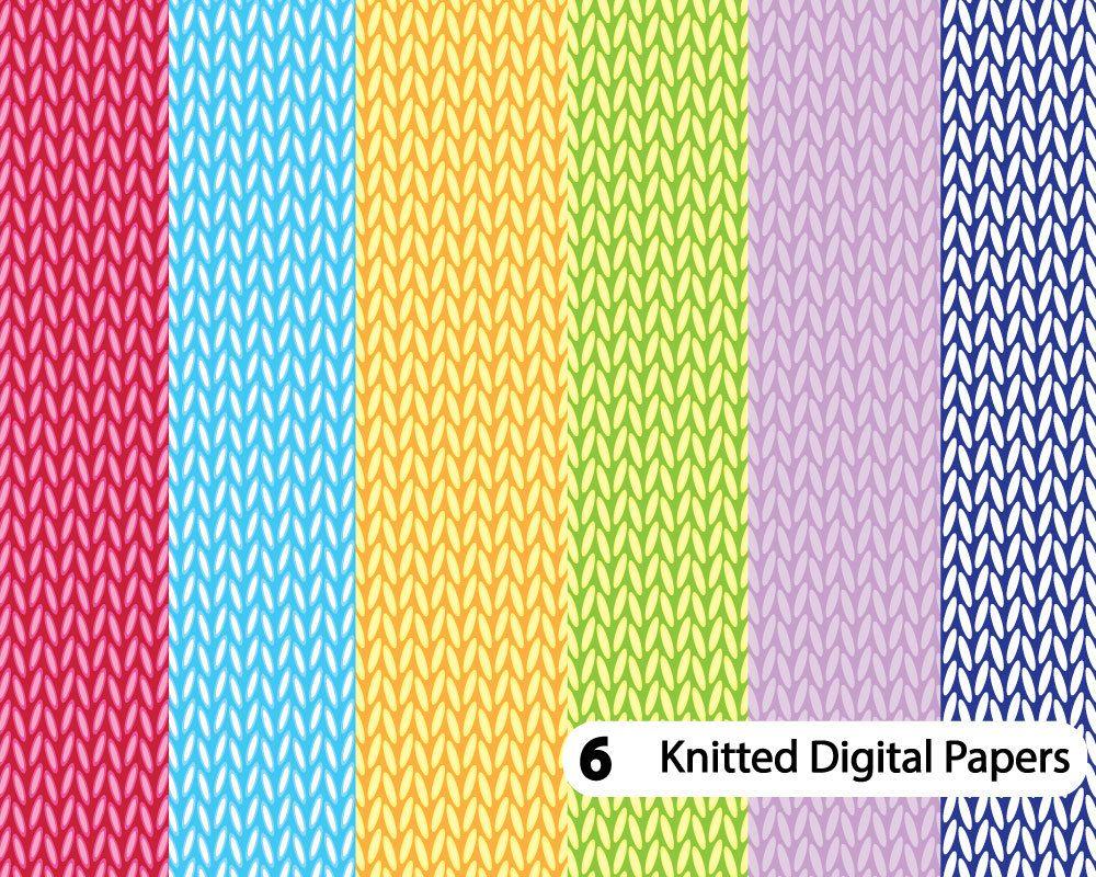 Knit digital paper, Knitting Pattern, Crochet digital ...