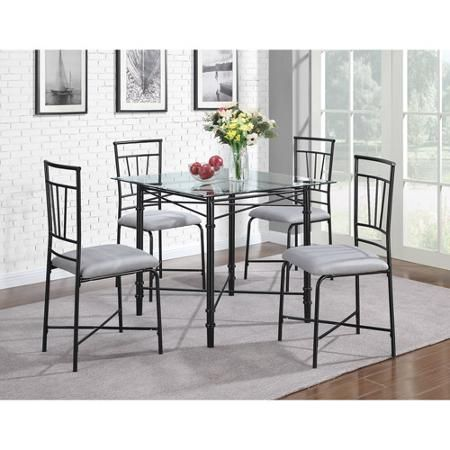 Dorel Living 5Piece Delphine Glass Top Metal Dining Set Black Brilliant Dining Room Tables Walmart Review