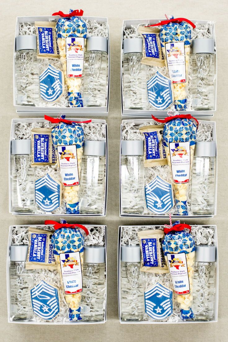 SOCIAL EVENT GIFT BOXES// Blue and white 'hail to the