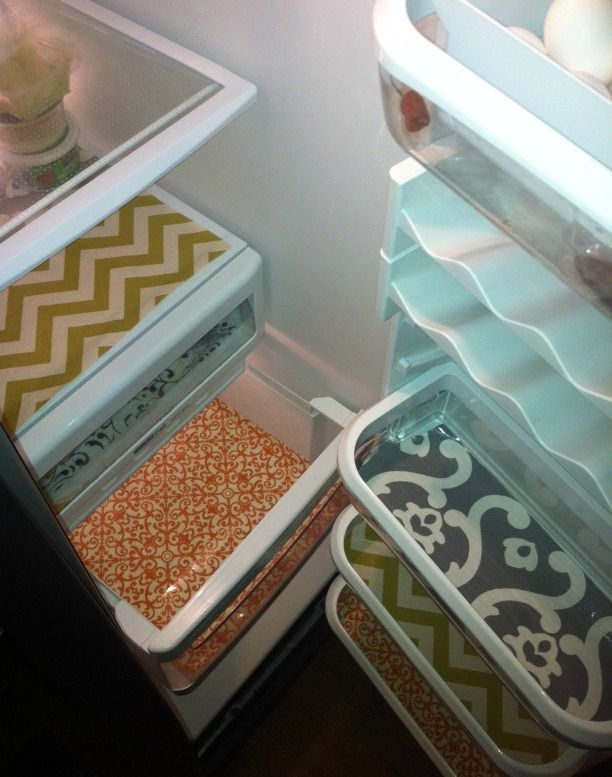 Fridge Shelf Liners Awesome Pimp Your Refrigerator Cut Decorative Shelf Paper To Fit Your Inspiration Design