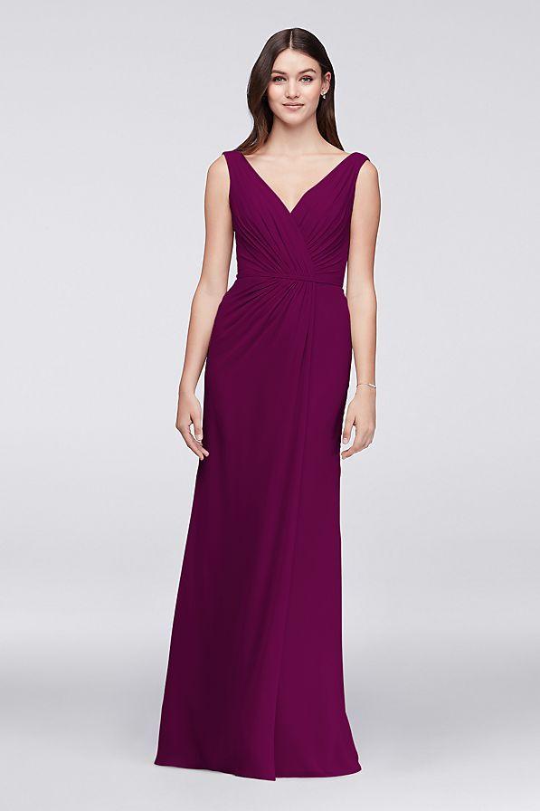 Faux-Wrap Pleated Chiffon Bridesmaid Dress Style F19585 | Slit skirt ...