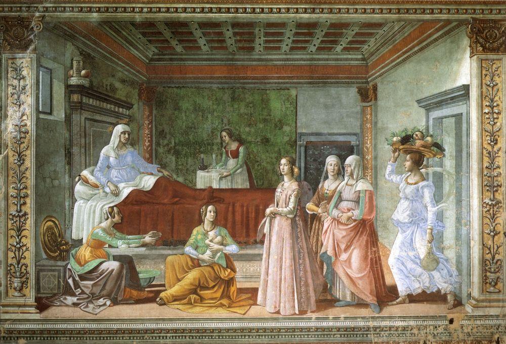 """Рождество Иоанна Предтечи"" ((Флоренция, Капелла Торнабуони,примерно 1486-90 гг)"