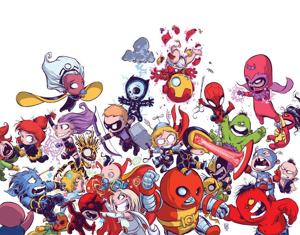 Midtown Comics Variant cover of Avengers Vs. X-Men by Skottie Young