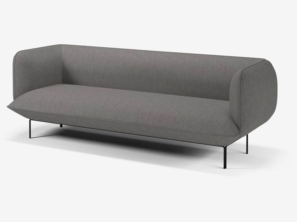 Cloud 3 Seater Sofa Yonoh Creative Studio Baize Fabric Grey Sofa Seater Sofa 3 Seater Sofa
