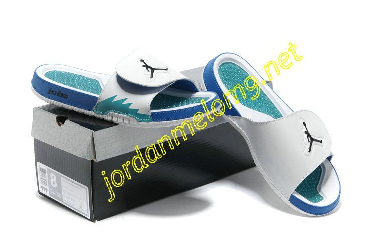 9951b027f Jordan Hydro 5 Mens Slides Sandals White Chlorine Blue Black ...