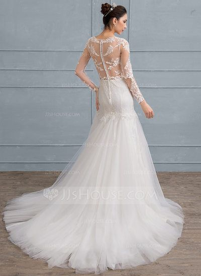 US$ 229.99] Trumpet/Mermaid Scoop Neck Court Train Tulle Lace ...