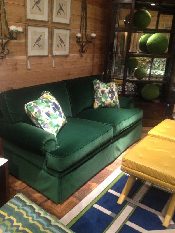 Hunter Green Velvet Couch Just Like The One At My Parents House Green Couch Living Room Sofa