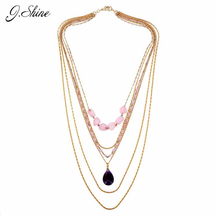 Jshine brand synthetic stone necklace multi layer gold alloy chain jshine brand synthetic stone necklace multi layer gold alloy chain necklace women accessories vintage jewelry online aloadofball Images