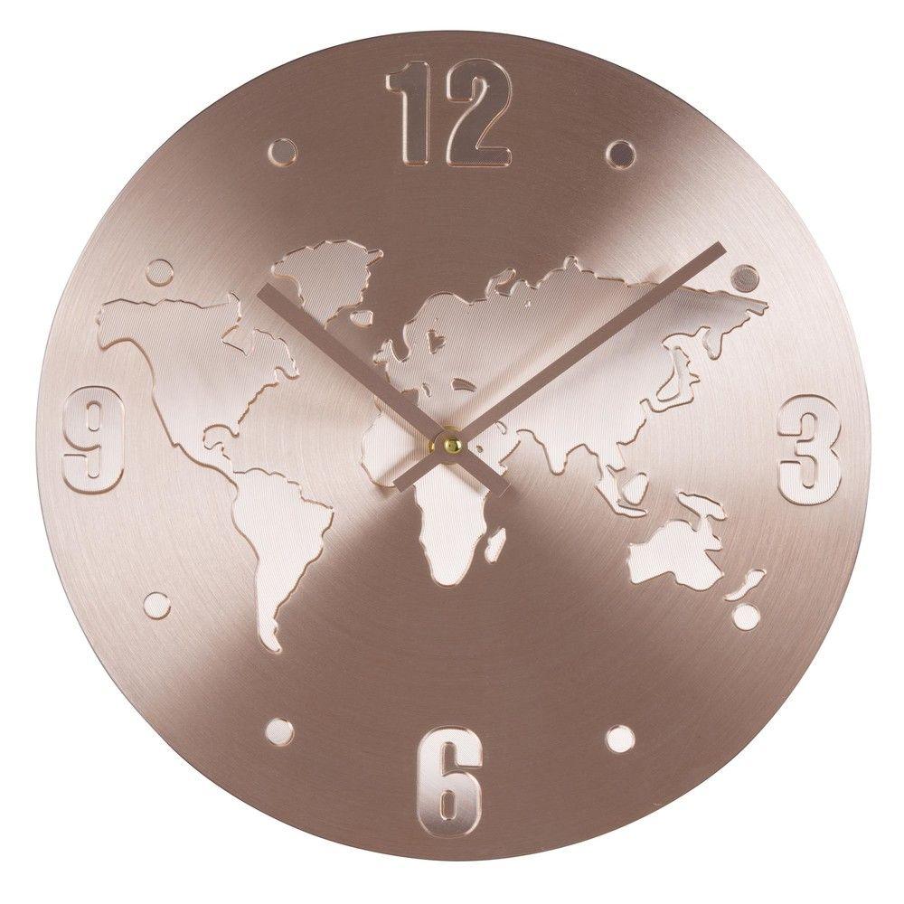 horloge planisphère en aluminium cuivré | maisons du monde