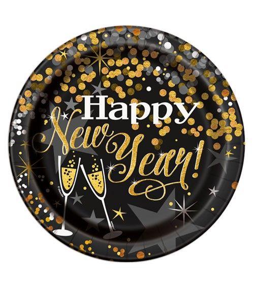 Pappteller Happy New Year - schwarz/gold - 8 Stück #happyhalloweenschriftzug