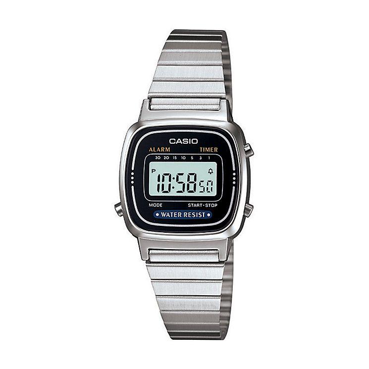 Casio Ladies' Mini Stainless Steel Black Dial Digital Watch