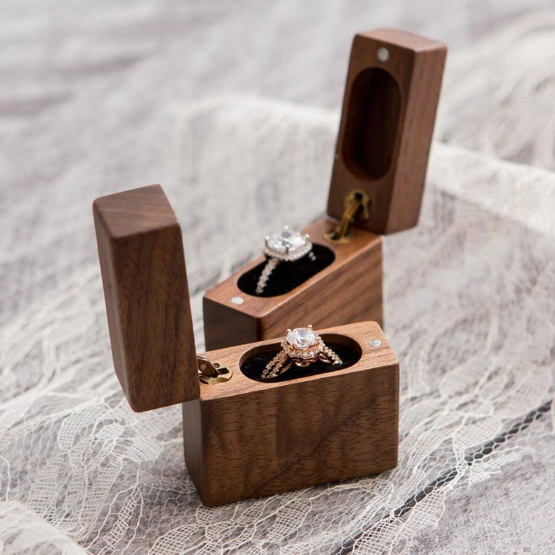 Flip Wood Ring Box Secret Engagement Proposal Ring Box Etsy Wood Ring Box Wooden Engagement Ring Boxes Proposal Ring Box