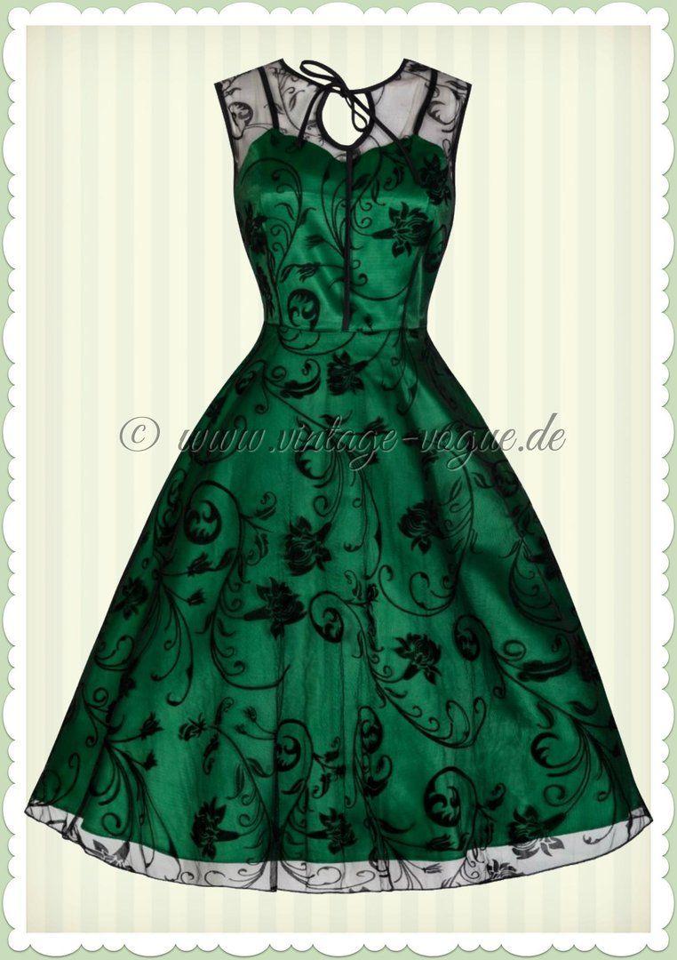 Lindy Bop 40er Jahre Vintage Blumen Flock Swing Kleid -Frankie Jean- Grün d80b48f7e0