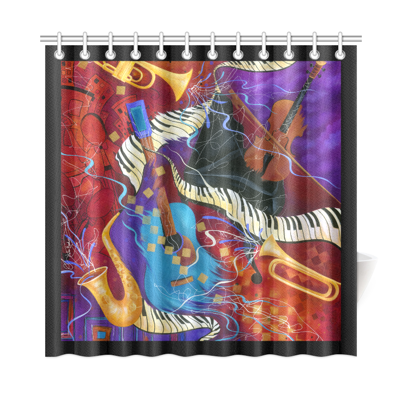 Colorful Music Art Piano Sax Trumpet Guitar Shower Curtain 72 X72