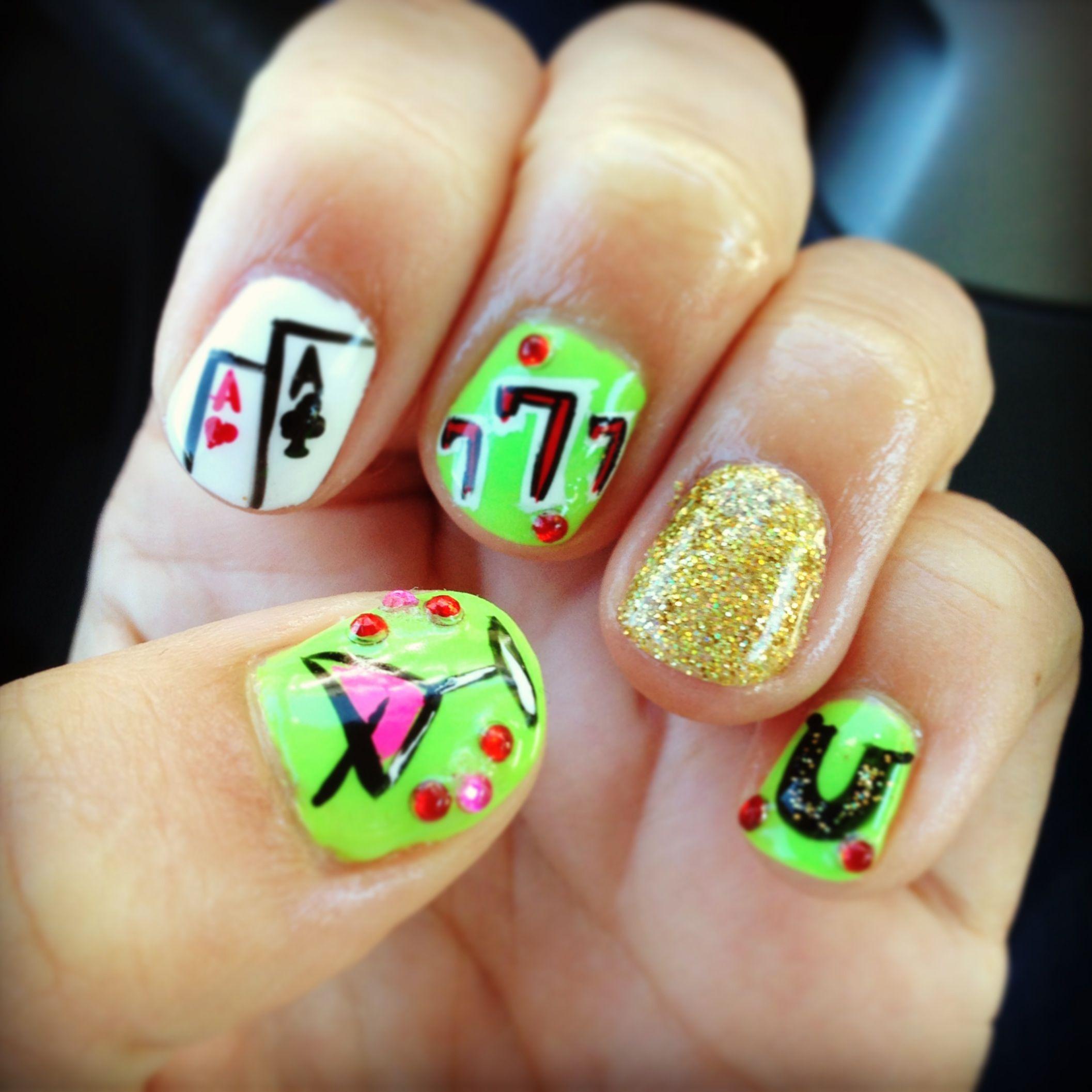 Las Vegas 21st birthday gambling gel polish nail art