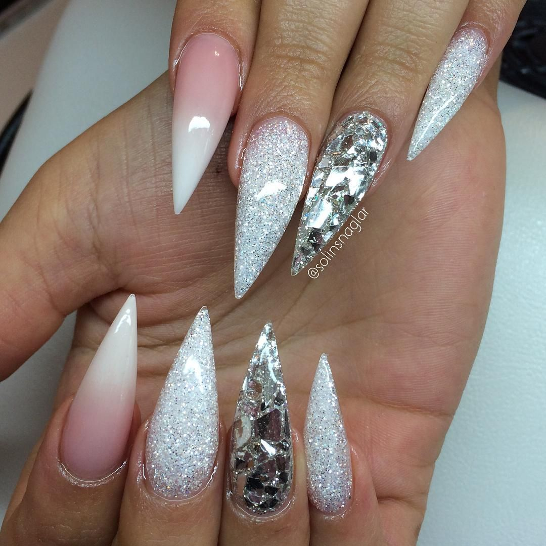 Nails toe French with diamonds pictures