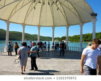 AbrauDurso  May 5 2018 People rest at the mountain lake Abrau AbrauDurso Krasnodar Region Russia lincoln