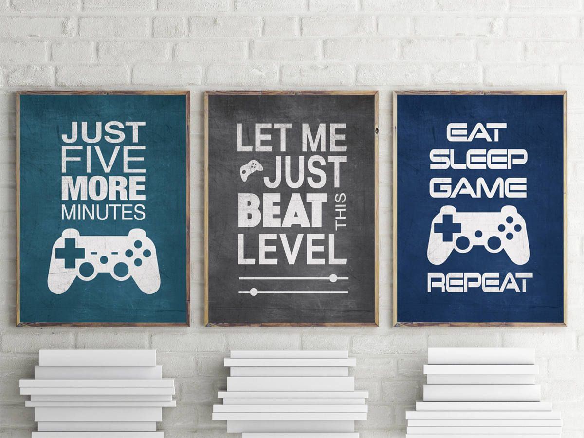 Set of 3 Video Gamer Graphic Prints 8x10 or 11x14 Matted Options #gamingrooms