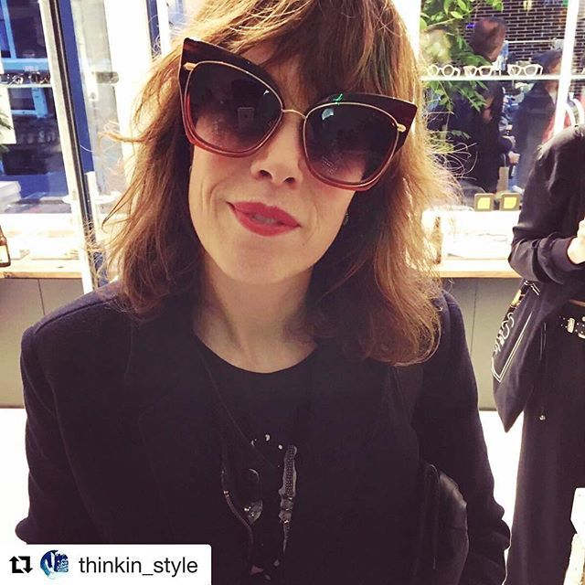 "Nannet loves Dita ;) #Repost @thinkin_style ・・・ Party glasses ""check"" #ditasunglasses #bckspace_eyewear #ade #funkyvinyl #lifeofastylist #thinkinstyle #fashion #styling"