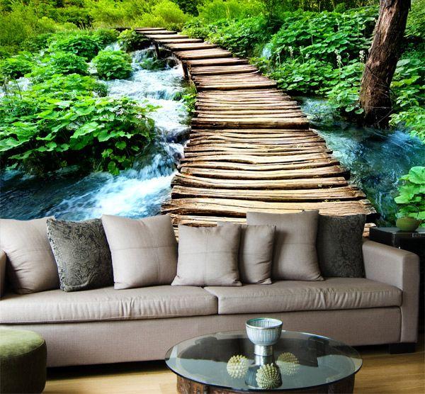 Fotomurales puente de madera vinilo pared pinterest puentes madera y murales - Murales de madera ...