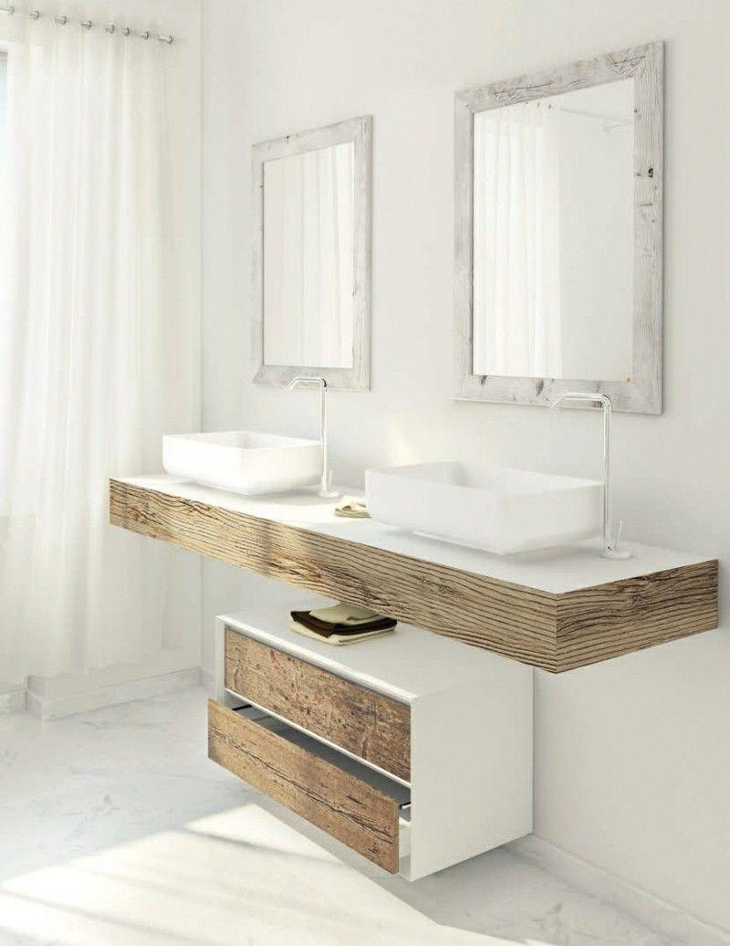 Badezimmermöbel holz grau  Shabby Badezimmer Möbel - Tannenholz und graues Holz kombiniert ...