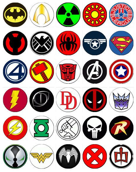 30 X Superhero Logos Rice Paper Fairy Cup Cake Toppers Decorations
