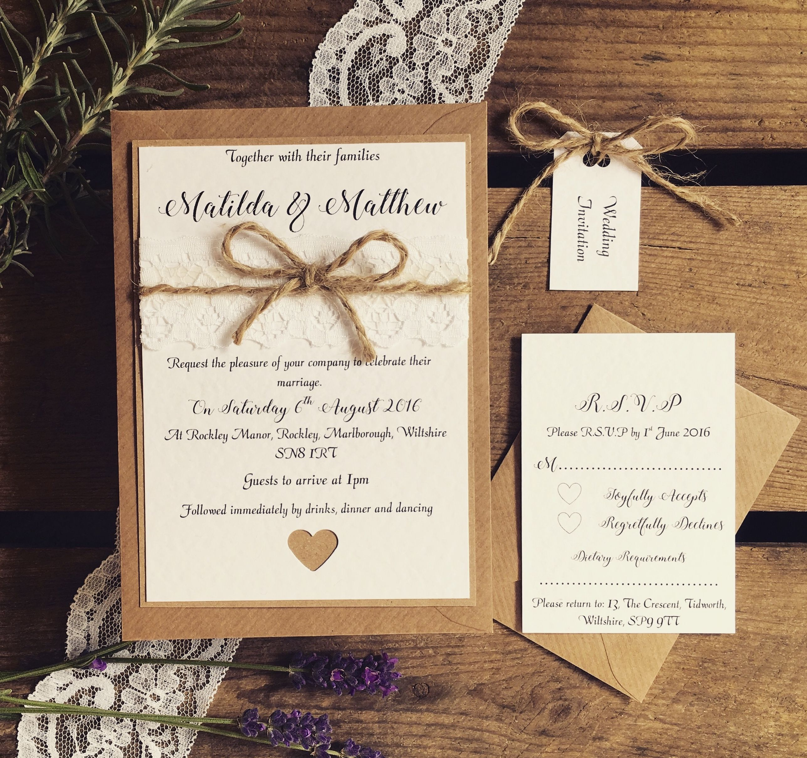 Rustic Wedding Invitation Rustic Invite Rustic Etsy Wedding Invitations Rustic Lace Wedding Invitations Rustic Vintage Wedding
