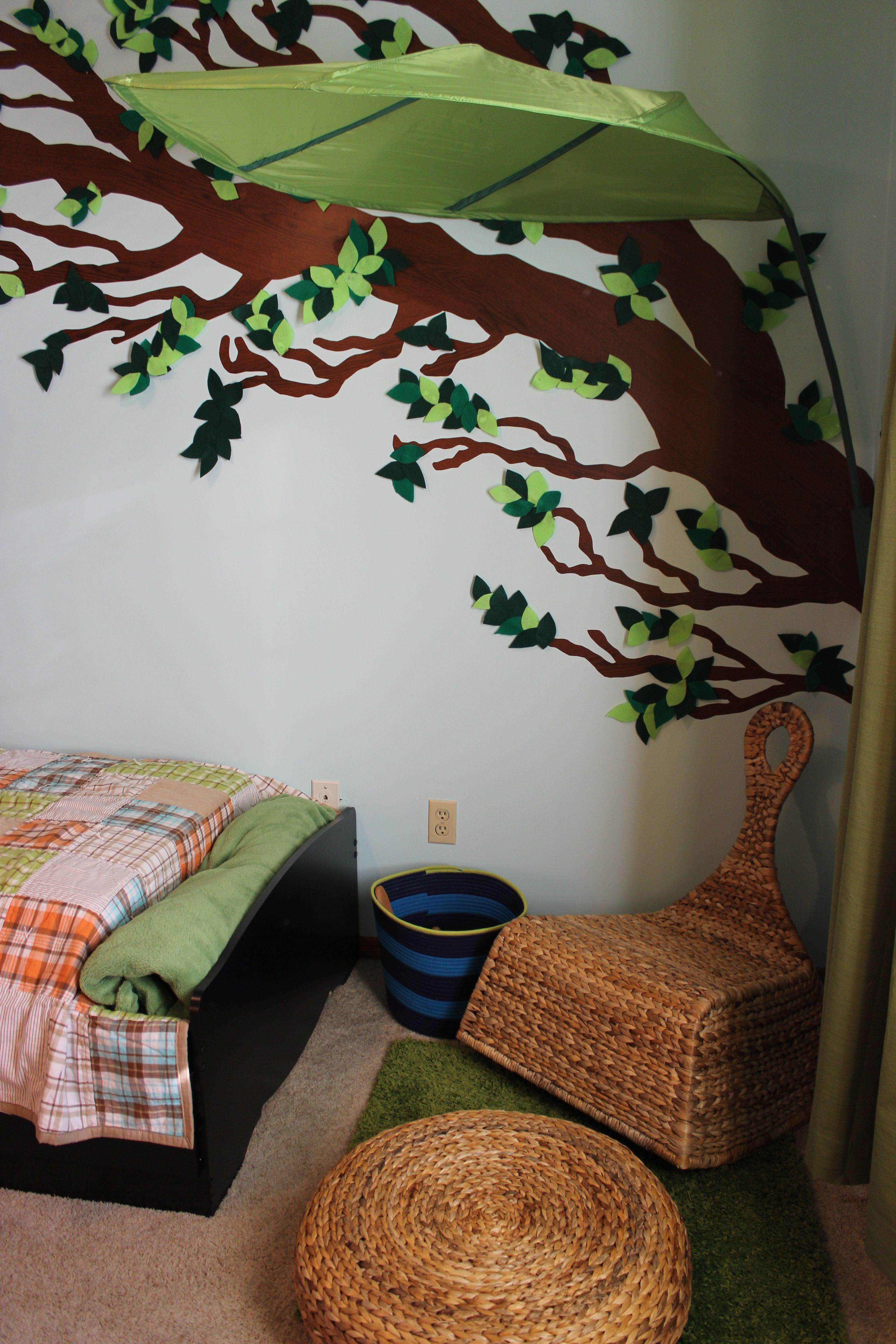 new ikea green leaf shaped bed canopy wall decoration make kids