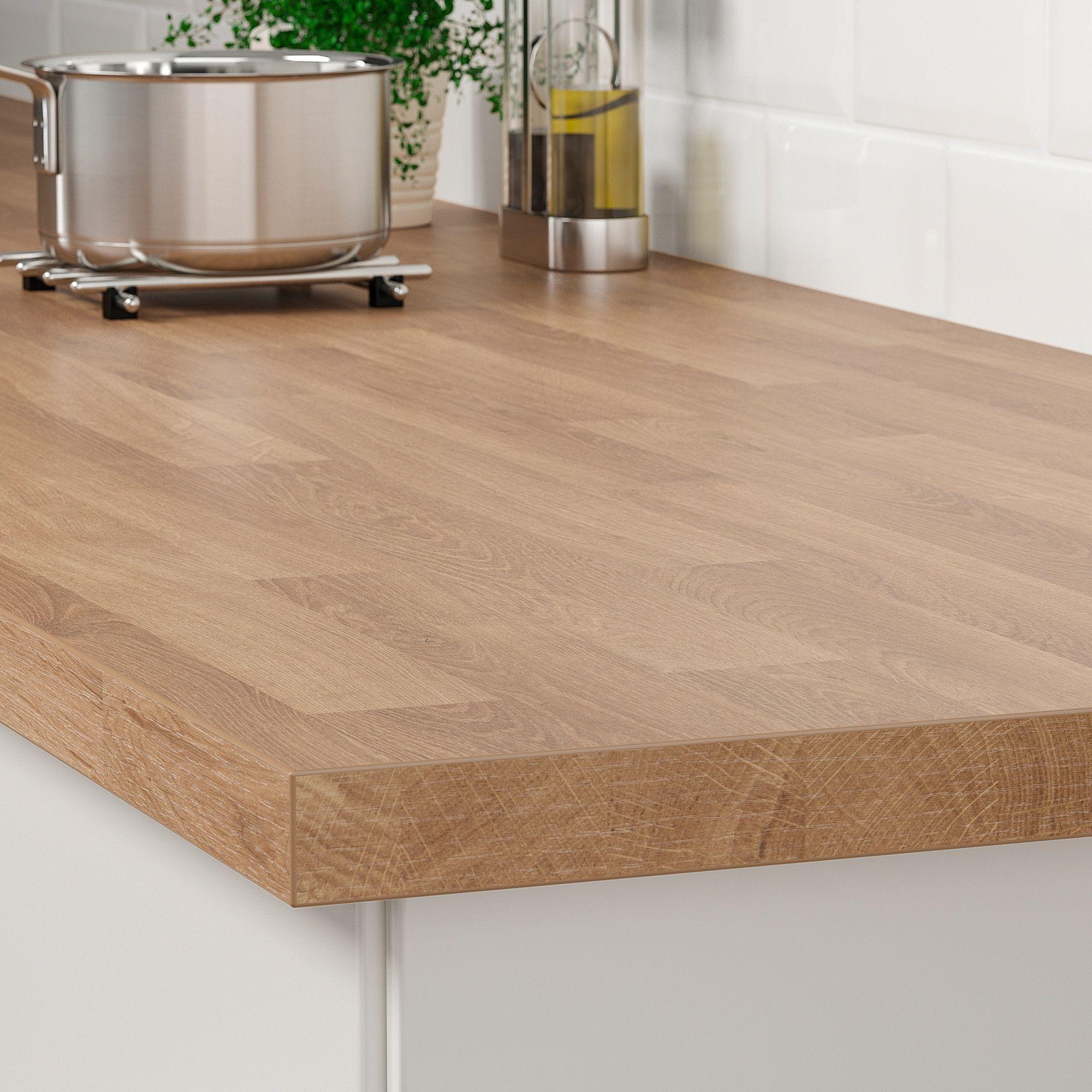 Saljan Plan De Travail Motif Chene Stratifie Ikea In 2020 Laminat Ikea Arbeitsplatte Laminieren