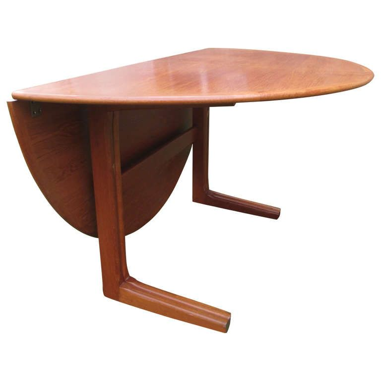 Danish Teak Round Drop Leaf Dining Table