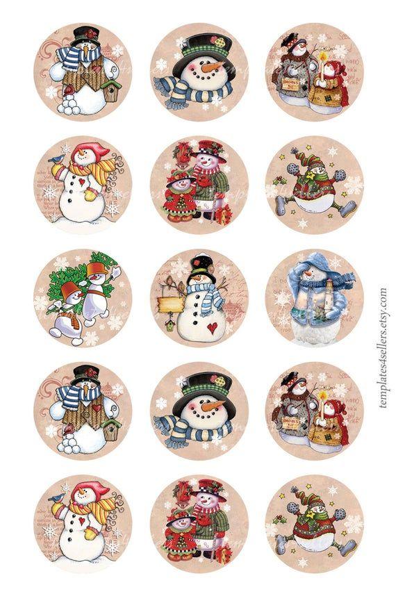 Digital Collage hoja muñeco de nieve Navidad año nuevo 1 pulgada redondo hoja de 4 x 6 pulgadas Vintage Scrapbooking colgantes imprimibles Original de imágenes 226 #etiquettesnoelaimprimer