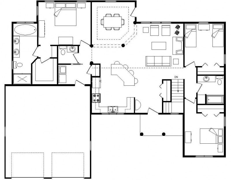 indecipherable open floor plan house plans without legend and scale - Open Floor House Plans