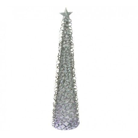 Arbol navideño plateado, de hierro y alambre pintado. Hojas ...
