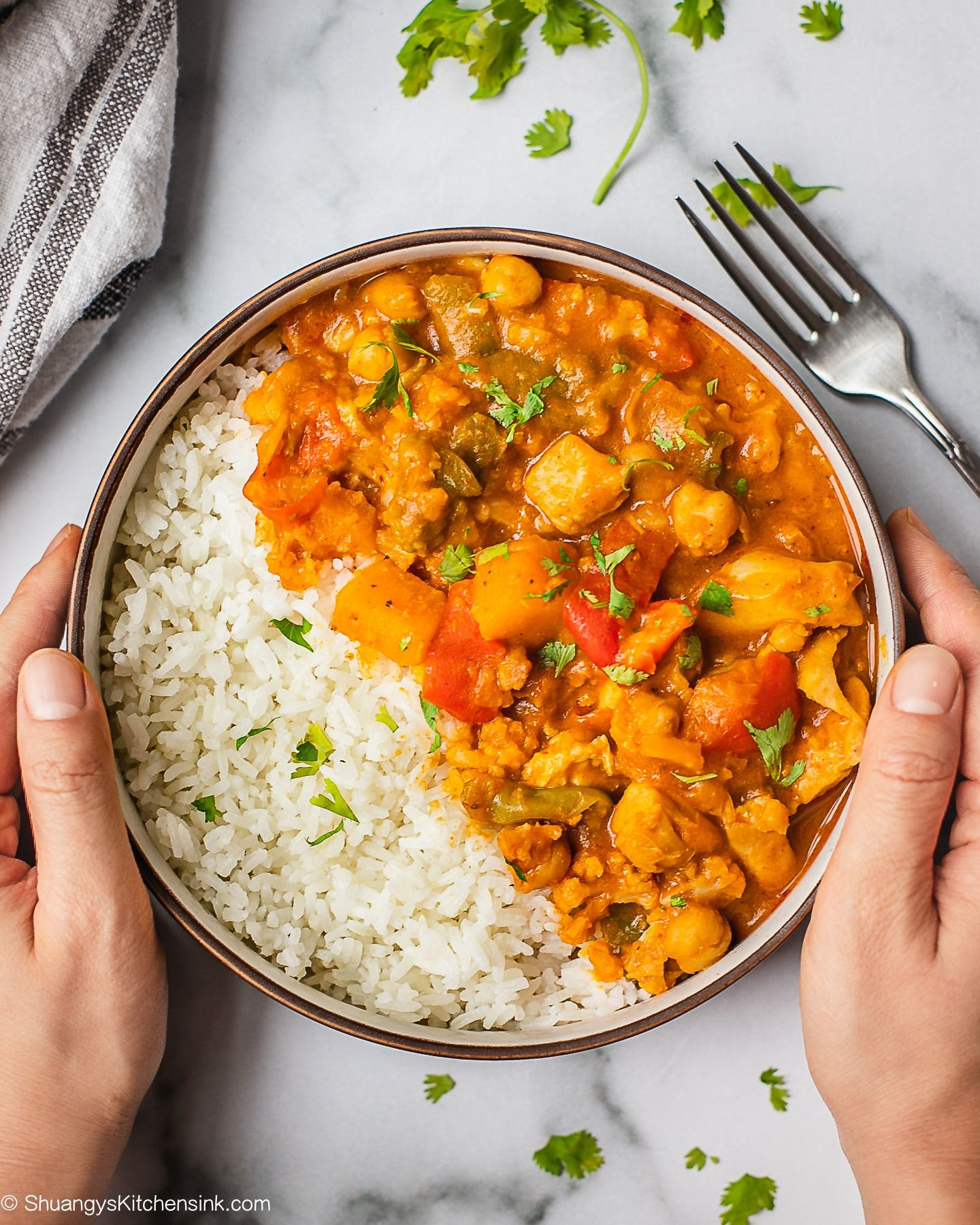 Thai Pumpkin Curry Whole30 Vegan Option Shuangy S Kitchen Sink Recipe Pumpkin Curry Vegan Recipes Healthy Hearty Dish