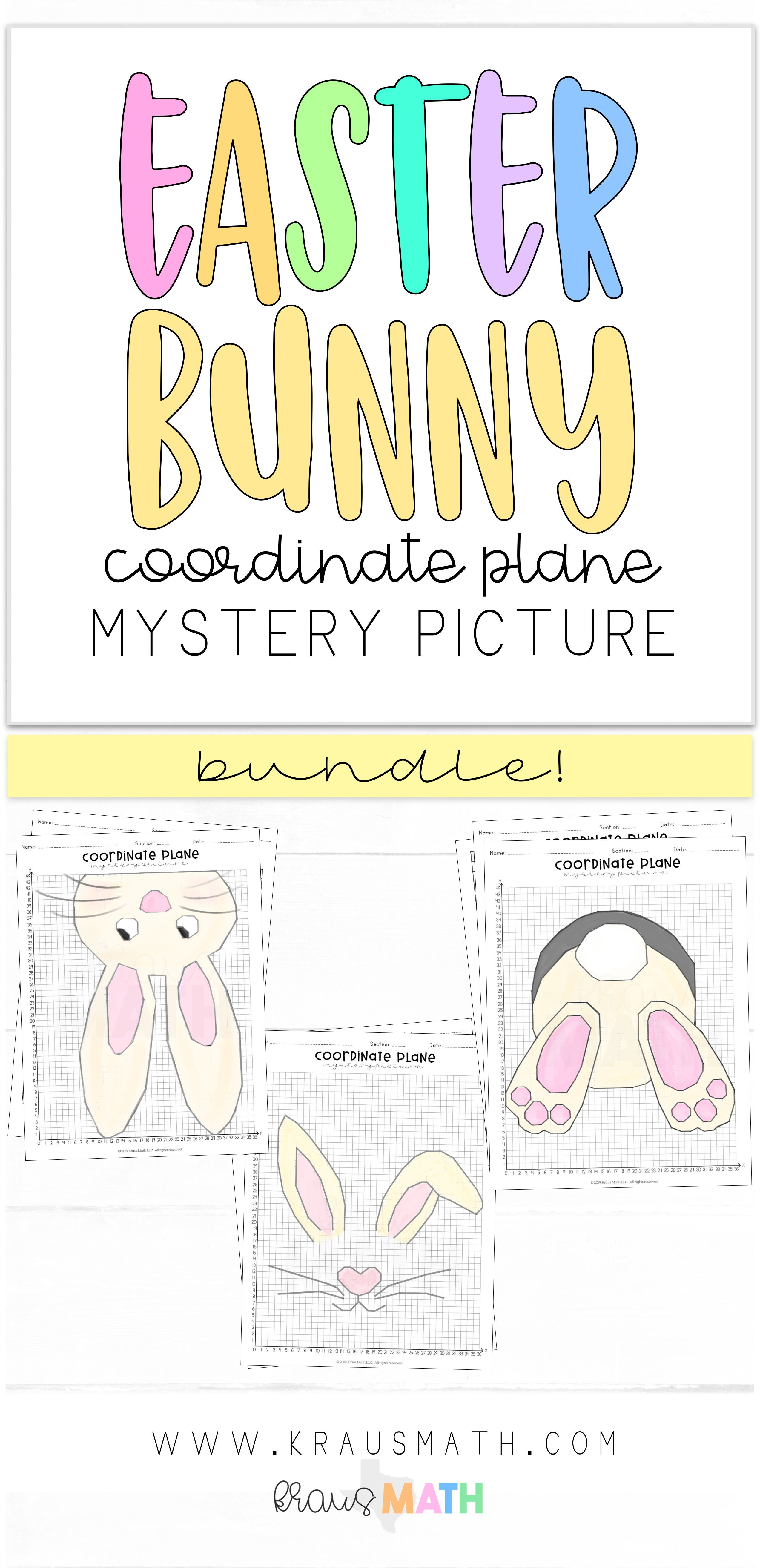 Easter Bunny Coordinate Plane Mystery Picture Bundle 1st