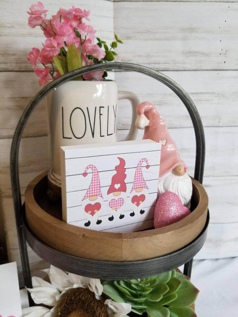 gnome tier tray decor Gnome Valentine\u2019s tier tray valentines day be mine