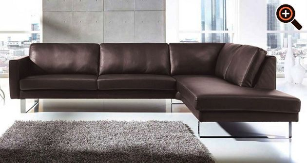 Ledercouch braun modern  Modernes Sofa – Designer Couch fürs Wohnzimmer aus Leder – schwarz ...