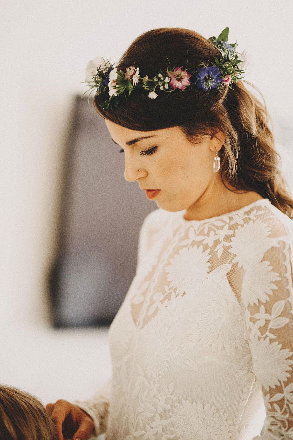 Katy wearing rue de seine chloe for a countryside festival wedding beautiful british english country floral wildflower love in the mist cornflower blue flower crown with rue izmirmasajfo