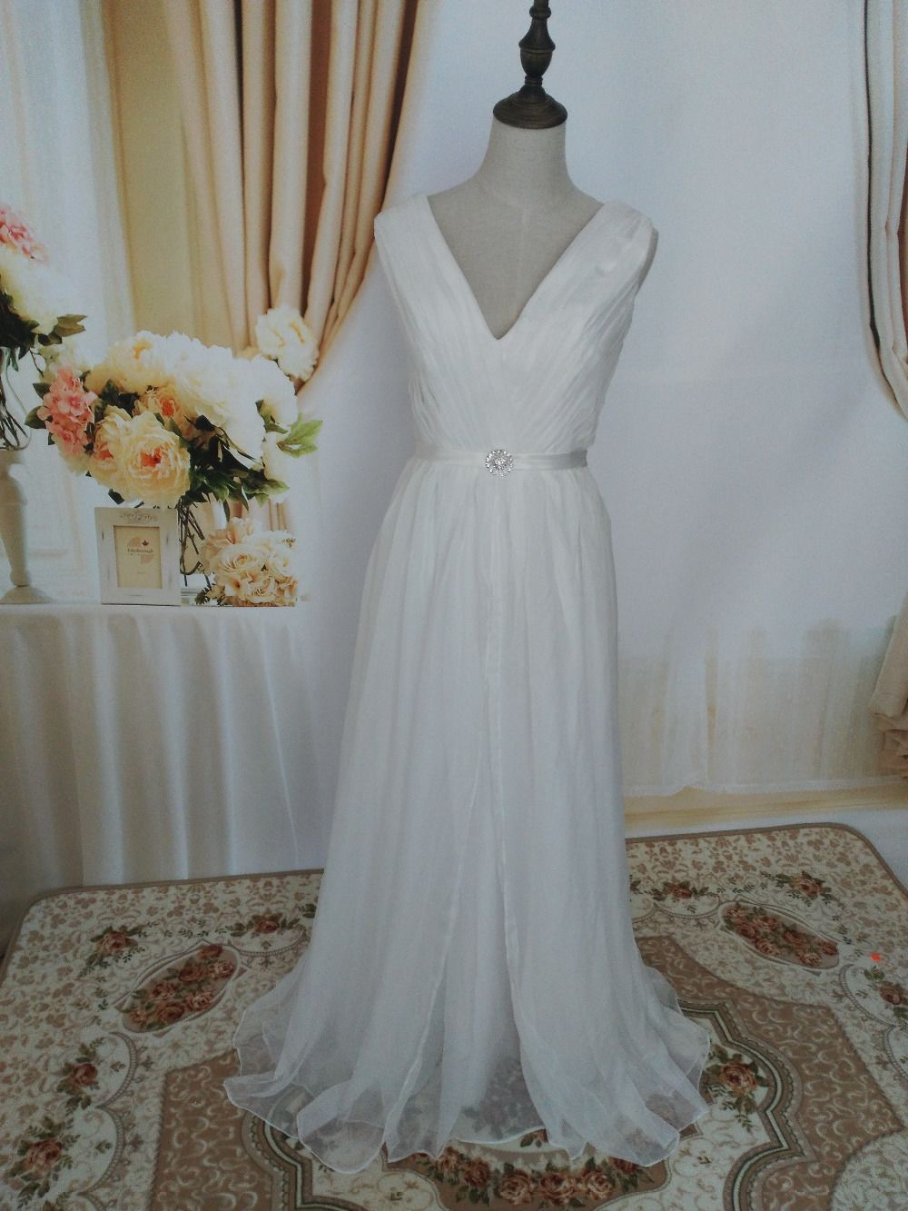 Size 20 dress for wedding  ZJ custom White Ivory Crystal Beads Wedding Dresses for brides