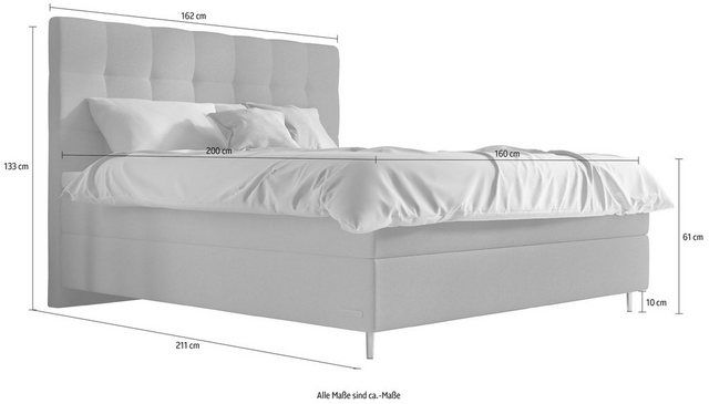 Photo of Box spring bed »Aida«, incl. BULTEX® topper, metal base in chrome