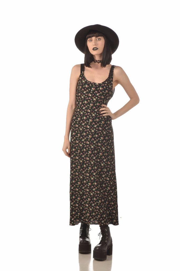 Rayanne 90s Ditzy Floral Print Grunge Maxi Dress #90sdress #90srayon #vintagedress #maxidress #floralprint #softgrunge #grunge #goth #gothic #cointrelle