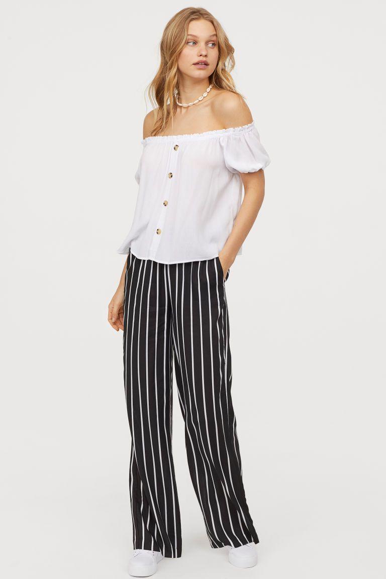 Vid bukse SortStripet DAME | H&M NO | Stripete bukser